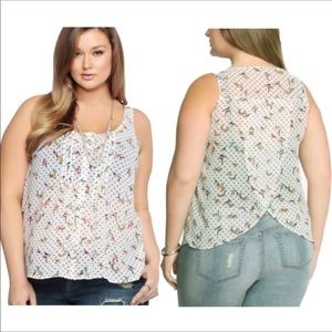 Torrid | White Polka Dot Bird Sleeveless Blouse